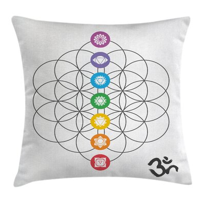 Zen Chakra Points in Rings Square Pillow Cover Size: 24 x 24