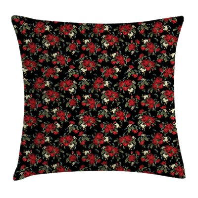 Farm Flowers Roses Square Pillow Cover Size: 16 x 16
