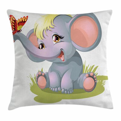 Elephant Newborn Mascot Square Pillow Cover Size: 16 x 16