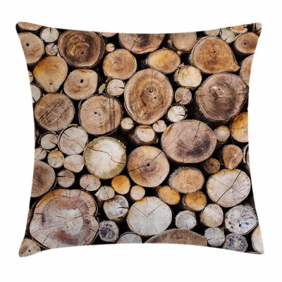 Wooden Logs Oak Tree Square Pillow Cover Size: 18 x 18