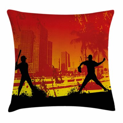 Teen Room Decor Baseball City Square Pillow Cover Size: 18 x 18
