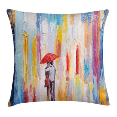 Love Painting Effect Romance Square Pillow Cover Size: 24 x 24