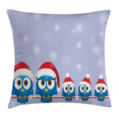 Christmas Fun Birds Santa Hats Square Pillow Cover Size: 16 x 16