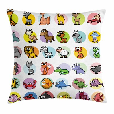 Zoo Funny Cartoon Animals Set Square Pillow Cover Size: 24 x 24