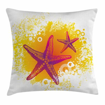 Starfish Decor Tropic Animals Square Pillow Cover Size: 16 x 16