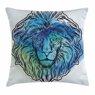 Lion Portrait King of Forest Square Pillow Cover Size: 18 x 18