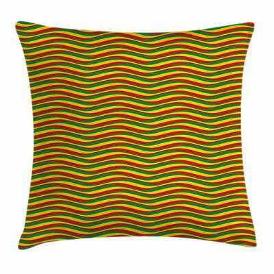 Rasta Ethiopian Wavy Stripes Square Pillow Cover Size: 24 x 24