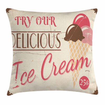 Ice Cream Pop Art Logo Square Pillow Cover Size: 24 x 24