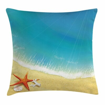 Starfish Decor Waves on Beach Square Pillow Cover Size: 18 x 18