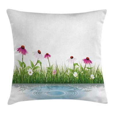 Cartoon Flowers by Lake Square Pillow Cover Size: 18 x 18