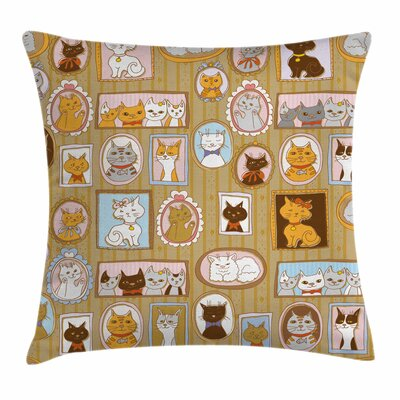 Cat Family Tree of Kitty Humor Square Pillow Cover Size: 20 x 20