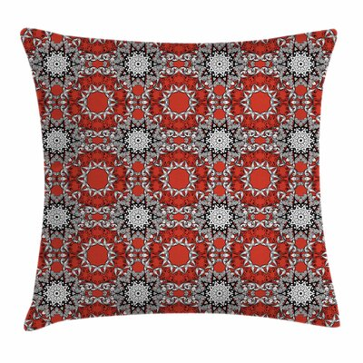 Red Mandala Doodle Style Flower Square Pillow Cover Size: 16 x 16