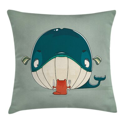 Cat Kitten Eating Huge Fish Square Pillow Cover Size: 24 x 24