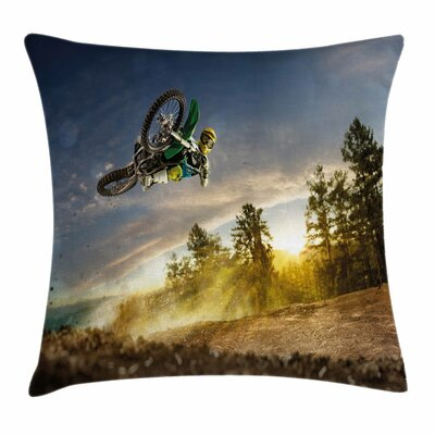 Teen Room Decor Extreme Sports Square Pillow Cover Size: 24 x 24