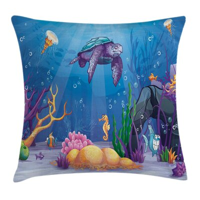 Underwater World Cartoon Square Pillow Cover Size: 18 x 18