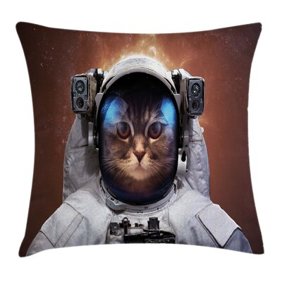 Space Kitten Square Pillow Cover Size: 24 x 24