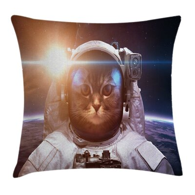Space Kitty Lunar Eclipse Square Pillow Cover Size: 16 x 16