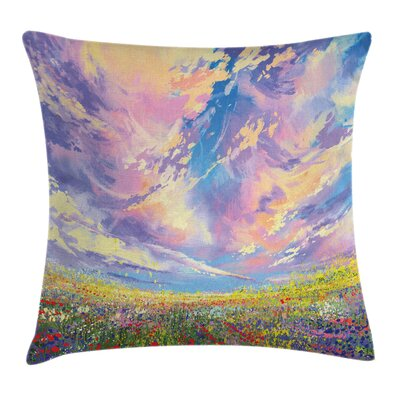 Floral Art Flowers Square Pillow Cover Size: 24 x 24