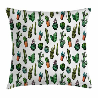 Cactus Spiked Cacti Pots Square Pillow Cover Size: 24 x 24