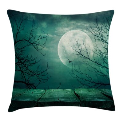 Spooky Forest Moonlight Square Pillow Cover Size: 16 x 16