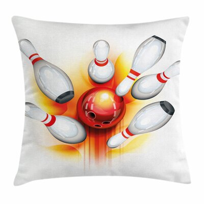 Bowling Ball Spread Pins Square Pillow Cover Size: 16