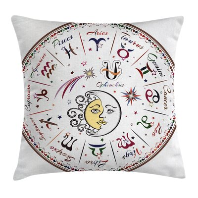 Fabric Moon Sun Zodiac Signs Square Pillow Cover Size: 18 x 18