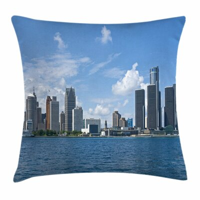 Detroit Decor Downtown Shore Square Pillow Cover Size: 24 x 24