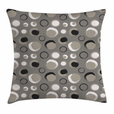 Dots Brushstrokes Grunge Square Pillow Cover Size: 18 x 18