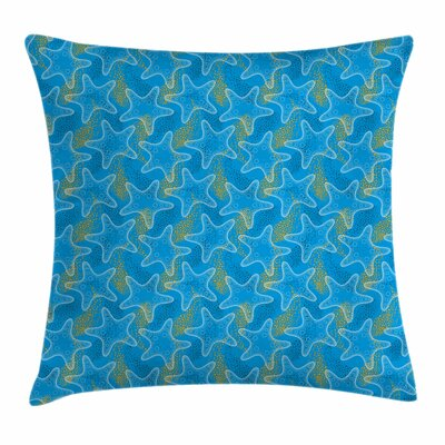 Starfish Decor Sea Stars Dots Square Pillow Cover Size: 24 x 24