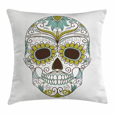 Sugar Skull Mexican Ornaments Square Pillow Cover Size: 16 x 16, Color: Green
