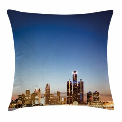 Detroit Decor Serene Waterfront Square Pillow Cover Size: 16 x 16