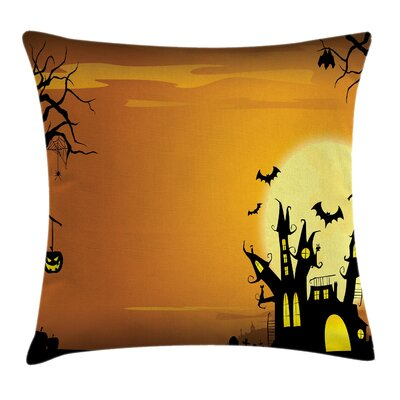 Halloween Decor Haunted House Square Pillow Cover Size: 24 x 24