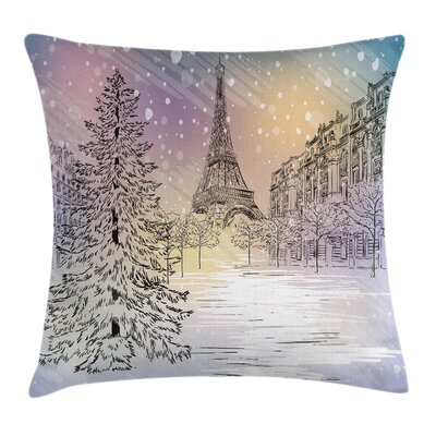Eiffel Winter Day at Paris Square Pillow Cover Size: 20 x 20