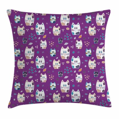 Cat Doodle Cartoon Cute Kittens Square Pillow Cover Size: 16 x 16