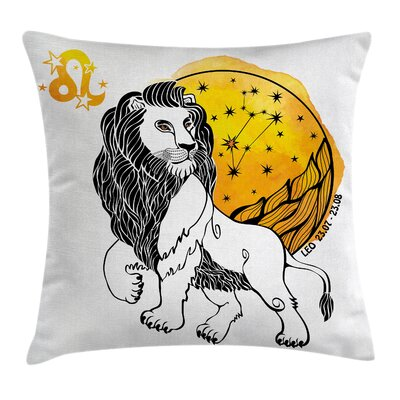 Astrology Zodiac Leo Symbol Art Square Pillow Cover Size: 16 x 16