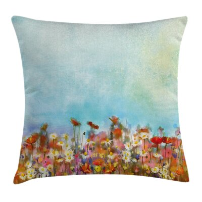Flower Field Watercolor Square Pillow Cover Size: 16 x 16