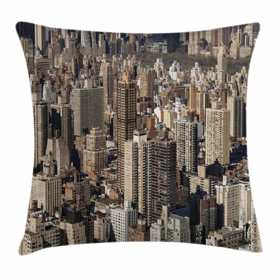United States NYC Aerial View Square Pillow Cover Size: 24 x 24