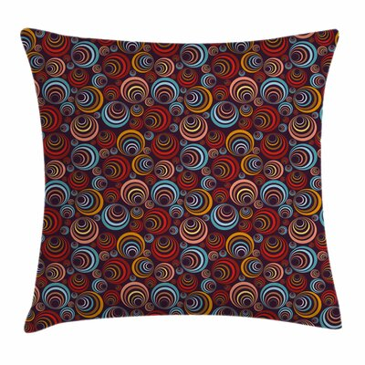 Abstract Circular Spiral Shapes Square Pillow Cover Size: 16 x 16