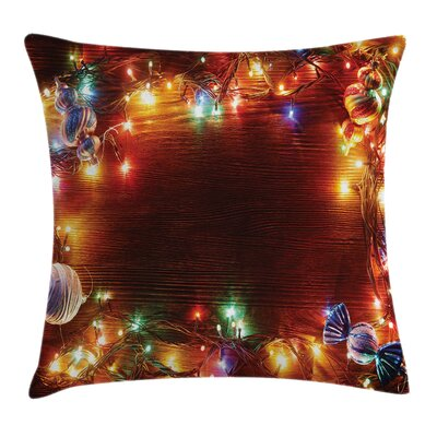 Christmas Fairy Lights Image Square Pillow Cover Size: 20 x 20