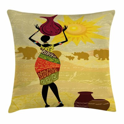 African Woman Elephants Sun Art Square Pillow Cover Size: 18 x 18