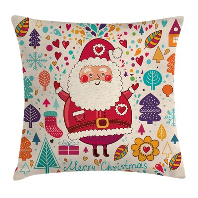 Christmas Vintage Santa Artsy Square Pillow Cover Size: 16 x 16