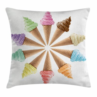 Ice Cream Row Square Pillow Cover Size: 18 x 18