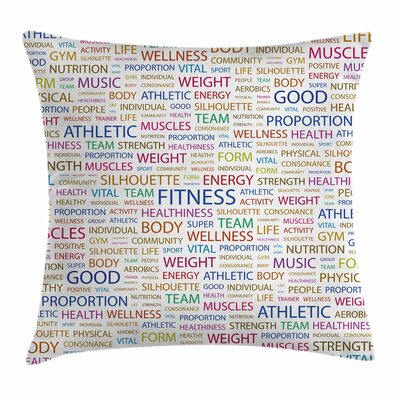 Fitness Psychical Activity Word Square Pillow Cover Size: 20 x 20