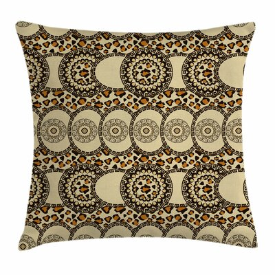 Folk Jungle Animal Boho Square Pillow Cover Size: 18