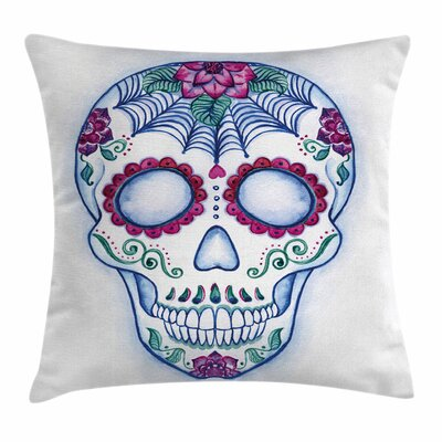 Sugar Skull Doodle Square Pillow Cover Size: 18 x 18