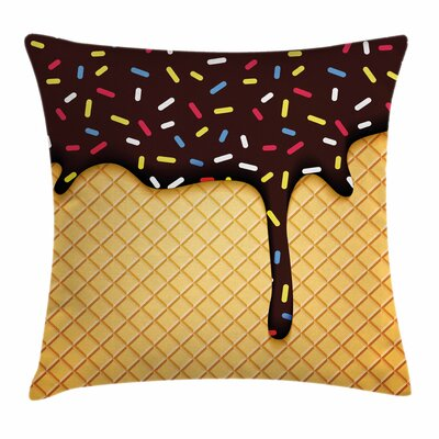 Ice Cream Choco Waffle Square Pillow Cover Size: 18 x 18, Color: Brown