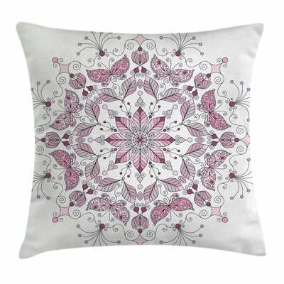 Mandala Pastel Lotus Square Pillow Cover Size: 18 x 18