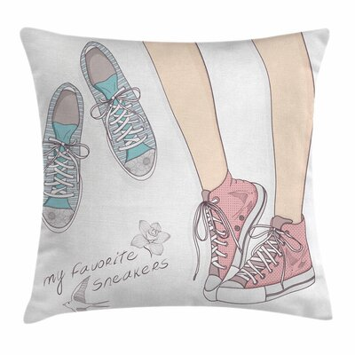 Teen Room Decor Girl Shoe Pair Square Pillow Cover Size: 16 x 16