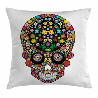 Skull Wild Spring Blooms Square Pillow Cover Size: 18 x 18