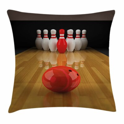 Bowling Party Skittle Ball Square Pillow Cover Size: 16 x 16